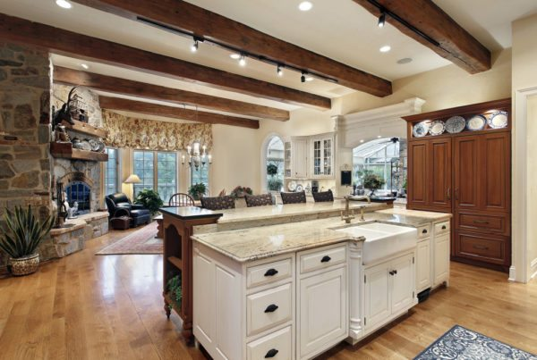rustic lighting in kitchen and family area